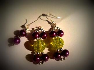 Kolczyki fioletowo- seledynowe