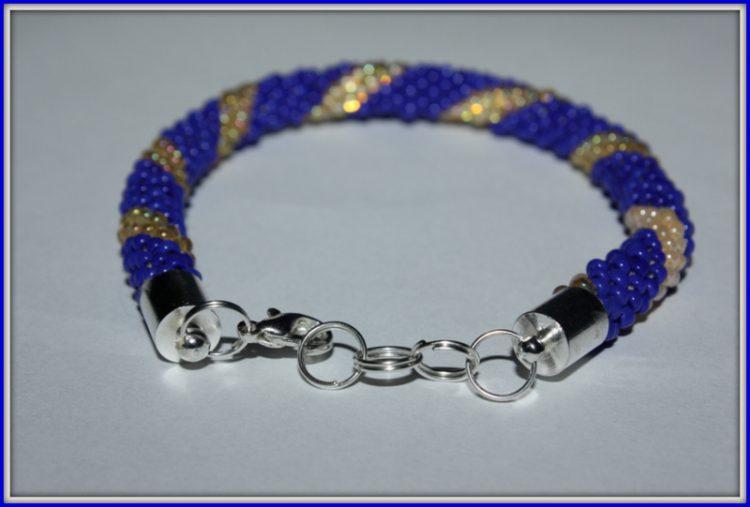 Bransoletka wężowa niebiesko-beżowa