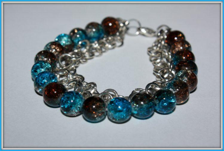 Bransoletka niebiesko- brązowa (crackle) 052