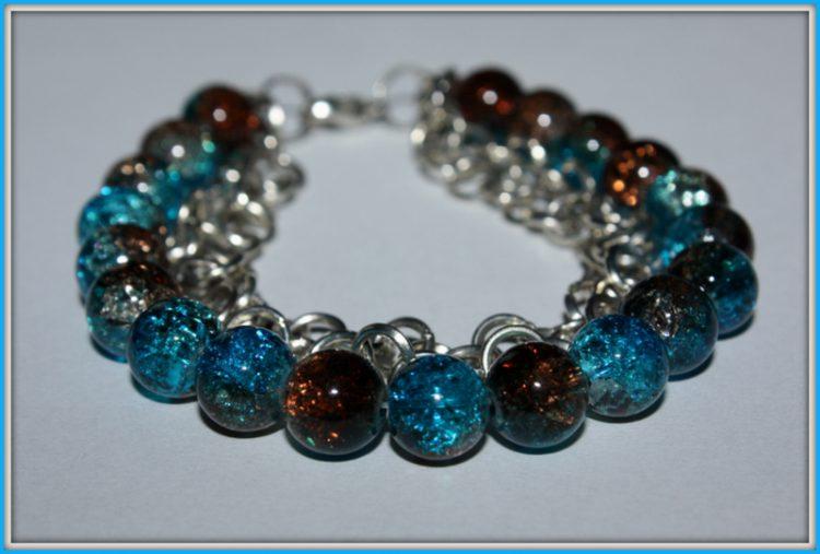 Bransoletka niebiesko- brązowa (crackle) 053