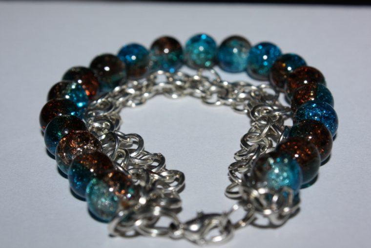 Bransoletka niebiesko- brązowa (crackle) 054