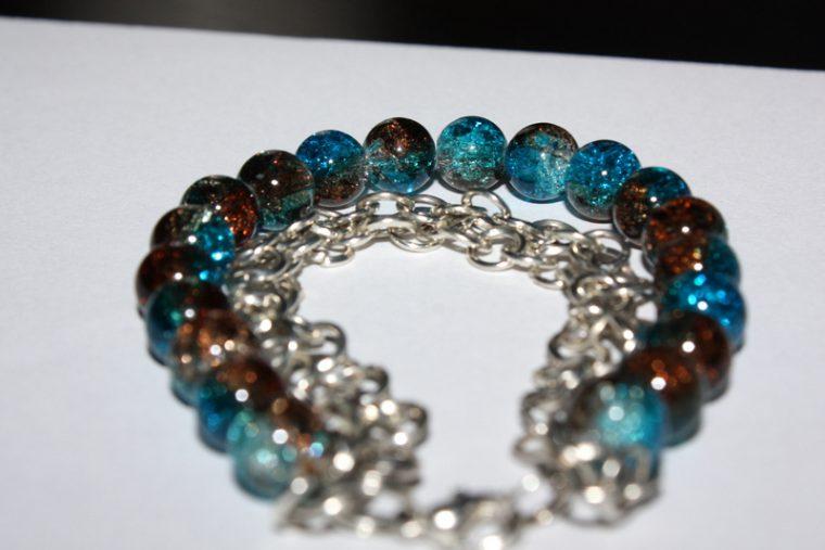 Bransoletka niebiesko- brązowa (crackle) 055