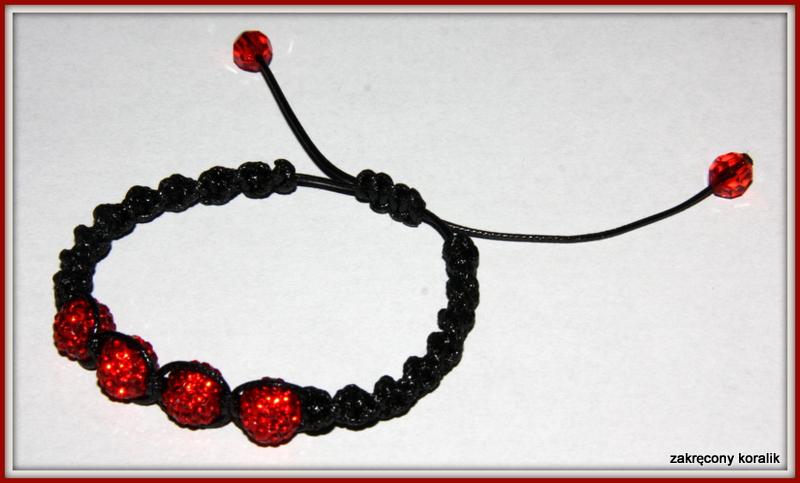 Bransoletka Shamballa - czerwona