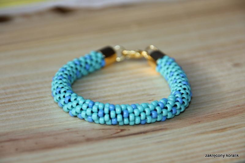 Wężowa bransoletka turkusowo- niebieska
