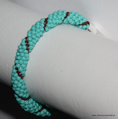 Wężowa bransoletka z koralików toho turkusowo-brązowych