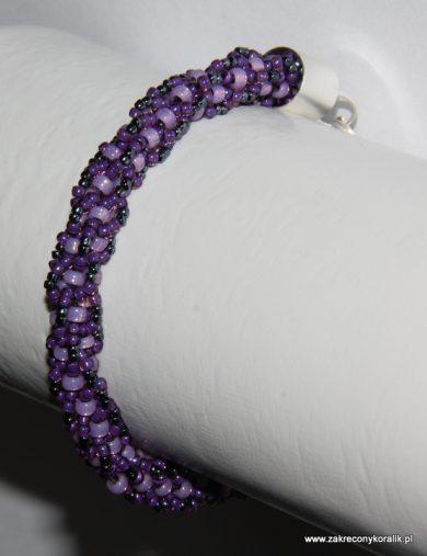 Zakręcony sznur turecki z koralików w odcieniach fioletu i grafitu 1