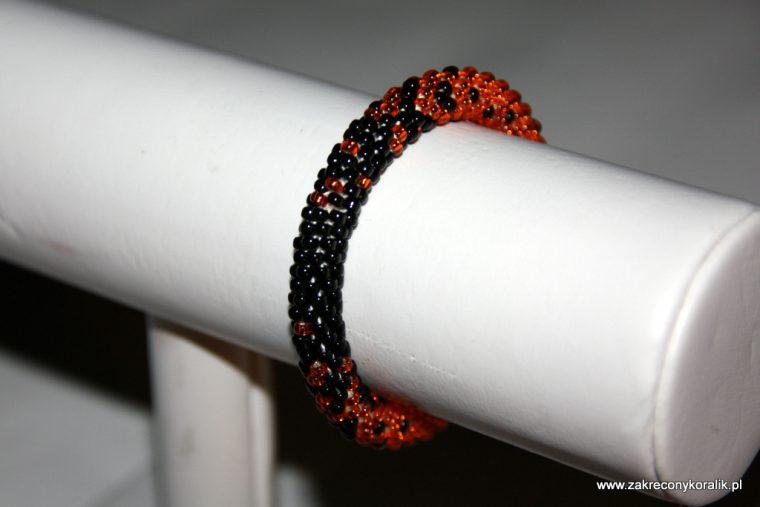 Cieniowana bransoletka pomaranczowo - czarna 009