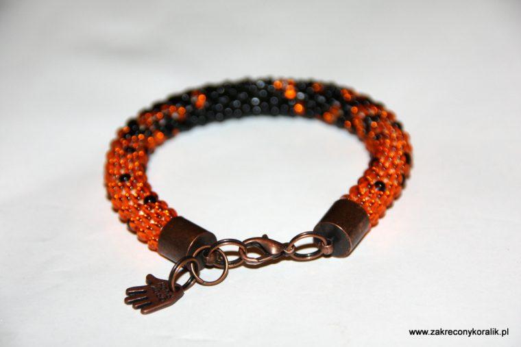 Cieniowana bransoletka pomaranczowo - czarna 016