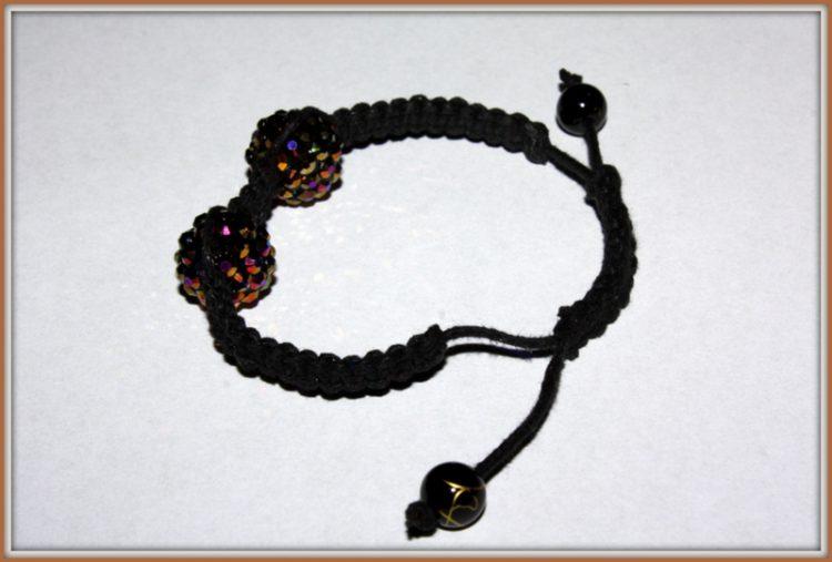 Bransoletka makrama brązowo- czarna, rzemyk