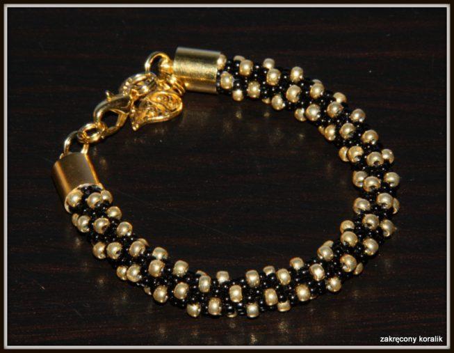 Wężowa bransoletka czarno - złota