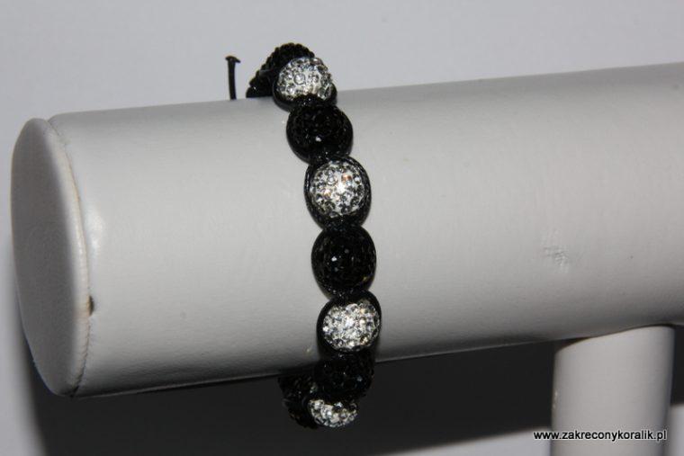 Bransoletka shamballa z kulek cyrkoniowych czarno-srebnych