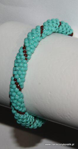 Wężowa bransoletka z koralików toho turkusowo-brązowych 1