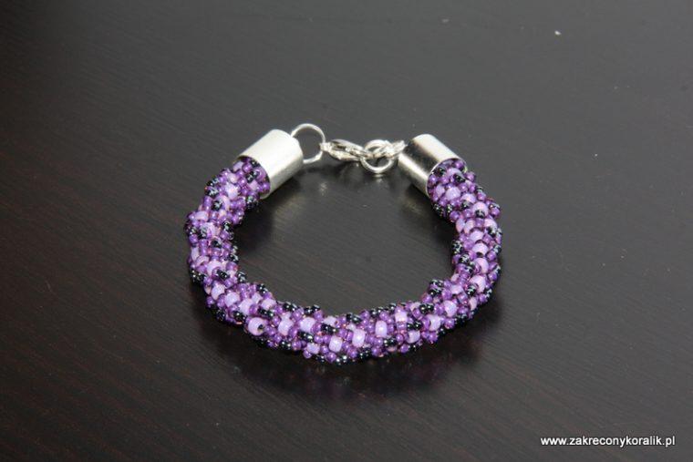 Zakręcony sznur turecki z koralików w odcieniach fioletu i grafitu 2
