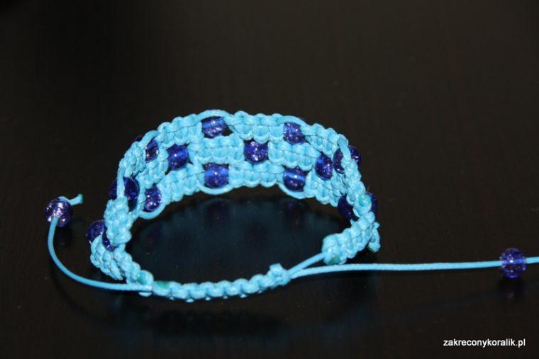 Potrójna bransoletka makrama - błękit w kolorze blue ... 2