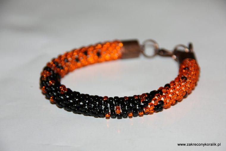 Cieniowana bransoletka pomaranczowo - czarna 014