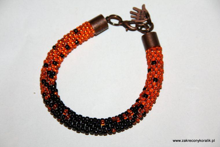 Cieniowana bransoletka pomaranczowo - czarna 015
